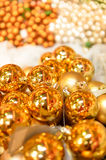 Golden Christmas balls decoration Royalty Free Stock Images