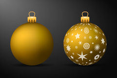 Golden christmas balls with golden holders. Set of isolated realistic decorations on black background Royalty Free Stock Photos