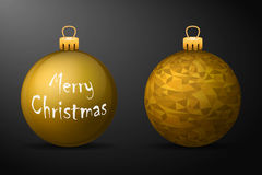 Golden christmas balls with golden holders. Set of  realistic decorations on black background Stock Photography
