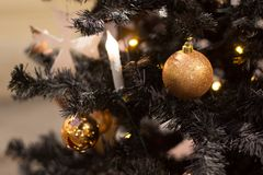 Christmas balls hanging on the tree, beautiful decoration for the new year Stock Photos