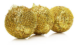 Golden Christmas balls isolated on the white background Stock Photo