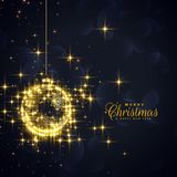 Golden christmas balls made with sparkles and glitter Royalty Free Stock Images