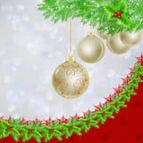 Golden Christmas balls over Christmas lights. Golden Christmas balls, fir tree and holly garland border over bokeh light background Royalty Free Stock Images