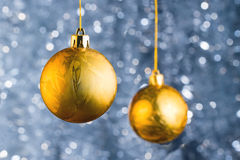 Golden Christmas balls Royalty Free Stock Images