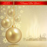 Golden Christmas balls with red ribbon Stock Image