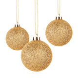Golden Christmas balls with ribbon Royalty Free Stock Image
