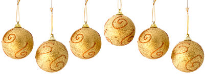Golden Christmas Balls Seamless Repeatable Border Royalty Free Stock Photos