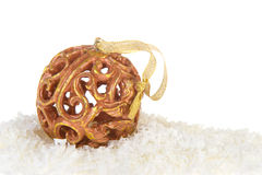 Golden Christmas balls in snow Royalty Free Stock Image