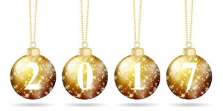 Golden christmas balls stars new year 2017 isolated Royalty Free Stock Images