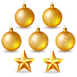 Golden Christmas balls and stars Stock Photography