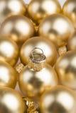 Golden christmas balls vertical Stock Photo