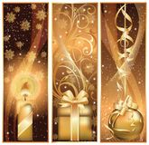 Golden Christmas banners,  Stock Photo