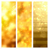 Golden christmas banners. Golden greetings as bokeh set banners Stock Photography