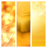 Golden christmas banners. Golden greetings as bokeh set banners Stock Image
