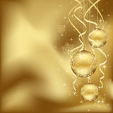 Golden Christmas baubles. Abstract background, with Christmas baubles, stars, snowflakes and blurry lights, illustration Stock Photo