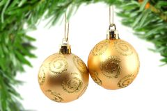 Golden christmas baubles Royalty Free Stock Photo