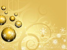 Golden christmas baubles Royalty Free Stock Photography