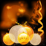 Golden Christmas baubles 2017 background Stock Images
