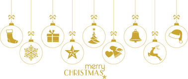 Golden Christmas baubles, Christmas ornaments on white Royalty Free Stock Images