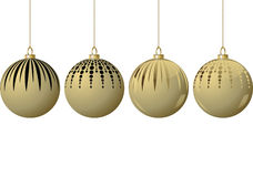 Golden christmas baubles. Four golden christmas baubles hanging Stock Image