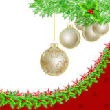 Golden Christmas baubles, holly border on white Royalty Free Stock Photo