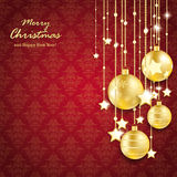 Golden Christmas Baubles Lines Red Ornaments Royalty Free Stock Image