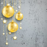 Golden Christmas Baubles Red Background Concrete Stock Image