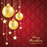 Golden Christmas Baubles Red Background Ornaments Stock Images