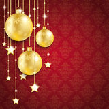 Golden Christmas Baubles Red Background Ornaments Stock Image