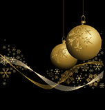 Golden Christmas baubles with snowflakes Royalty Free Stock Photography