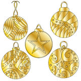 Golden Christmas baubles with stars and stripes Stock Photos