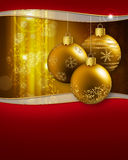 Golden christmas baubles. Three golden christmas baubles hanging on a glittering background stock illustration