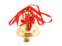 Golden Christmas bell Stock Photos