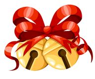 Golden Christmas bell balls with red ribbon and bow. Xmas decoration. Jingle bells icon. Vector illustration isolated on white bac. Kground. Web site page and Royalty Free Stock Photo