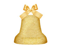 Golden Christmas bell with bow isolated on white Stock Photos