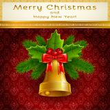 Golden Christmas bell Royalty Free Stock Photos