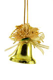 Golden Christmas bell isolated Stock Images
