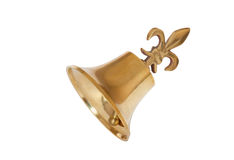 Golden Christmas bell isolated on white. Background Royalty Free Stock Photo