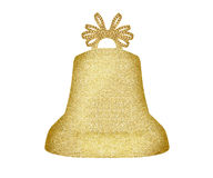 Golden Christmas bell isolated on white Royalty Free Stock Photography