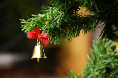 Golden Christmas bell with red ribbon hanging on Christmas tree background Royalty Free Stock Image