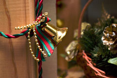 Golden Christmas bell. Small gold colored Christmas bell decoration Royalty Free Stock Photo