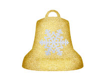 Golden Christmas bell with snowflake isolated on white Royalty Free Stock Photo