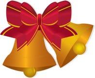 Golden Christmas bells Stock Photo