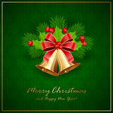 Golden Christmas bells with bow and holly berries on green. Golden Christmas bells with red bow, Holly berries and decorative spruce branches on green background Royalty Free Stock Photos