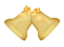 Golden Christmas bells with bow isolated on white Stock Photography