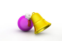 Golden Christmas bells decorated with violet bubble Stock Photos
