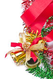 Golden Christmas Bells Decorating With Red Ribbon. Royalty Free Stock Photos