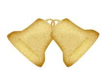 Golden Christmas bells isolated on white Stock Photo