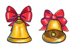 Golden Christmas bells isolated on white background. Golden Christmas bells with red bow isolated on white background, hand drawn illustration Stock Photo