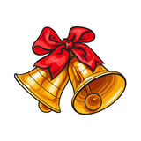 Golden Christmas bells with a red bow Stock Image